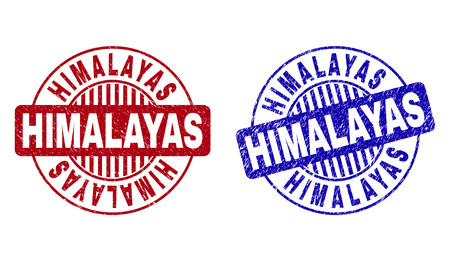 Grunge HIMALAYAS round stamp seals isolated on a white background. Round seals with grunge texture in red and blue colors. Vector rubber imitation of HIMALAYAS text inside circle form with stripes.