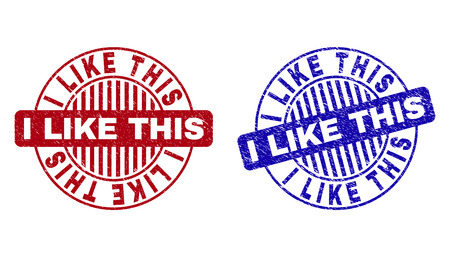 Grunge I LIKE THIS round stamp seals isolated on a white background. Round seals with distress texture in red and blue colors. Vector rubber imprint of I LIKE THIS tag inside circle form with stripes.