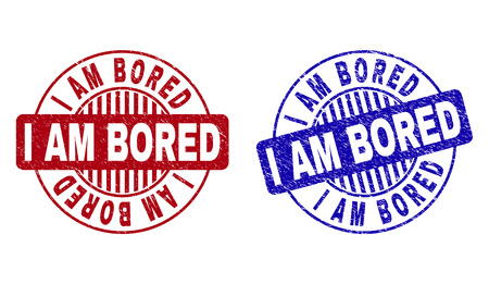 Grunge I AM BORED round stamp seals isolated on a white background. Round seals with grunge texture in red and blue colors. Vector rubber imprint of I AM BORED caption inside circle form with stripes. 일러스트