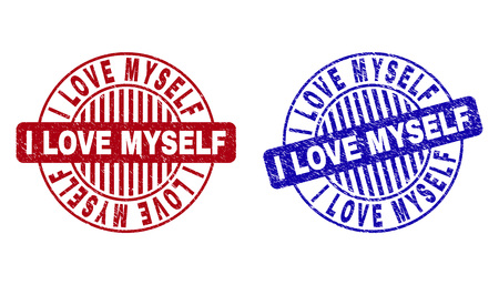 Grunge I LOVE MYSELF round stamp seals isolated on a white background. Round seals with grunge texture in red and blue colors. 일러스트