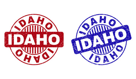 Grunge IDAHO round stamps isolated on a white background. Round seals with grunge texture in red and blue colors. Vector rubber overlay of IDAHO label inside circle form with stripes.