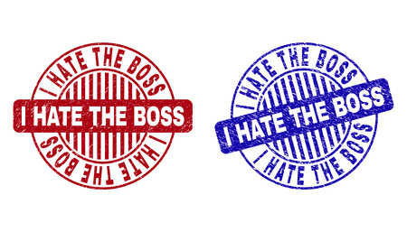 Grunge I HATE THE BOSS round stamp seals isolated on a white background. Round seals with grunge texture in red and blue colors. Ilustração