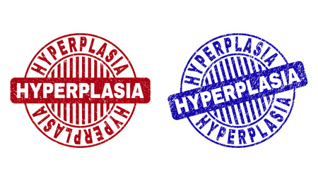 Grunge HYPERPLASIA round stamp seals isolated on a white background. Round seals with grunge texture in red and blue colors. Vector rubber imprint of HYPERPLASIA tag inside circle form with stripes. Illustration