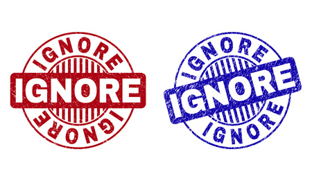 Grunge IGNORE round stamp seals isolated on a white background. Round seals with grunge texture in red and blue colors. Vector rubber imitation of IGNORE label inside circle form with stripes.