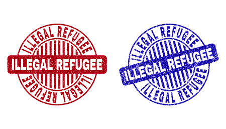 Grunge ILLEGAL REFUGEE round watermarks isolated on a white background. Round seals with grunge texture in red and blue colors.
