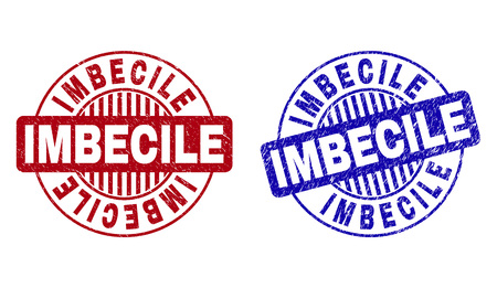 Grunge IMBECILE round stamp seals isolated on a white background. Round seals with grunge texture in red and blue colors. Vector rubber imprint of IMBECILE caption inside circle form with stripes.