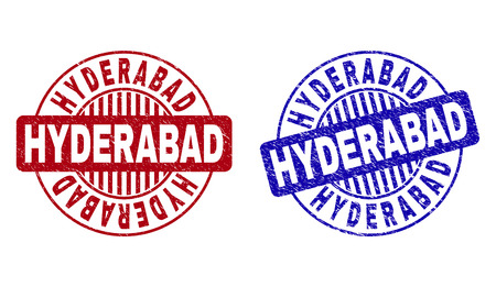 Grunge HYDERABAD round stamp seals isolated on a white background. Round seals with grunge texture in red and blue colors. Vector rubber overlay of HYDERABAD text inside circle form with stripes.