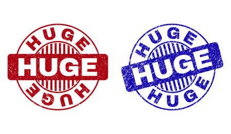 Grunge HUGE round stamp seals isolated on a white background. Round seals with grunge texture in red and blue colors. Vector rubber watermark of HUGE text inside circle form with stripes.