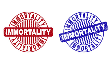 Grunge IMMORTALITY round stamp seals isolated on a white background. Round seals with grunge texture in red and blue colors.