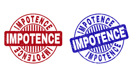 Grunge IMPOTENCE round stamp seals isolated on a white background. Round seals with grunge texture in red and blue colors. Vector rubber imitation of IMPOTENCE caption inside circle form with stripes.