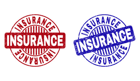 Grunge INSURANCE round stamp seals isolated on a white background. Round seals with grunge texture in red and blue colors. Vector rubber overlay of INSURANCE label inside circle form with stripes.