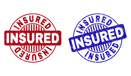 Grunge INSURED round stamp seals isolated on a white background. Round seals with grunge texture in red and blue colors. Vector rubber imitation of INSURED caption inside circle form with stripes.