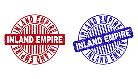 Grunge INLAND EMPIRE round stamp seals isolated on a white background. Round seals with grunge texture in red and blue colors.