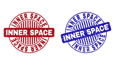 Grunge INNER SPACE round stamp seals isolated on a white background. Round seals with grunge texture in red and blue colors.