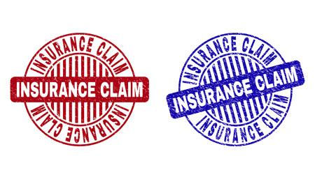 Sellos de sello redondo de reclamación de seguro de grunge aislados sobre fondo blanco. Sellos redondos con textura grunge en colores rojo y azul. Ilustración de vector