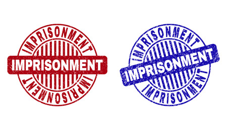 Grunge IMPRISONMENT round stamp seals isolated on a white background. Round seals with grunge texture in red and blue colors. Illustration