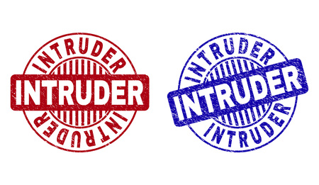 Grunge INTRUDER round stamp seals isolated on a white background. Round seals with distress texture in red and blue colors. Vector rubber imprint of INTRUDER title inside circle form with stripes.