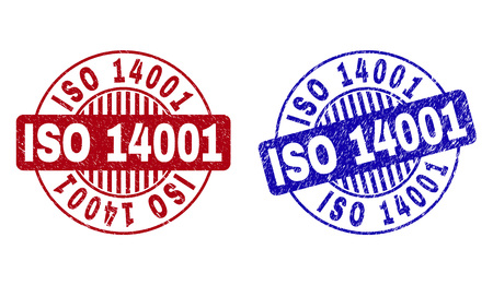 Grunge ISO 14001 round stamp seals isolated on a white background. Round seals with grunge texture in red and blue colors. Vector rubber imprint of ISO 14001 tag inside circle form with stripes.