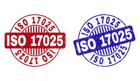 Grunge ISO 17025 round stamp seals isolated on a white background. Round seals with grunge texture in red and blue colors. Vector rubber overlay of ISO 17025 title inside circle form with stripes.