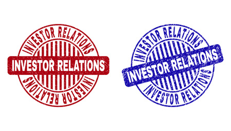 Grunge INVESTOR RELATIONS round stamp seals isolated on a white background. Round seals with grunge texture in red and blue colors.  イラスト・ベクター素材