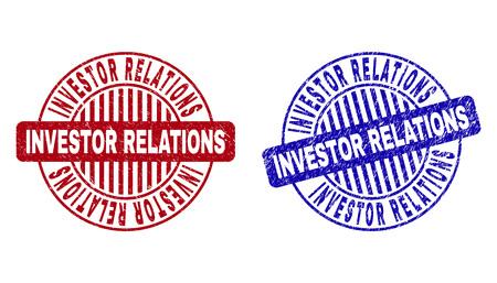 Grunge INVESTOR RELATIONS timbres ronds isolés sur fond blanc. Joints ronds avec texture grunge dans les couleurs rouge et bleu. Vecteurs