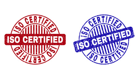 Grunge ISO CERTIFIED round stamp seals isolated on a white background. Round seals with grunge texture in red and blue colors. Illustration