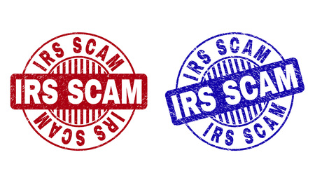 Grunge IRS SCAM round stamp seals isolated on a white background. Round seals with grunge texture in red and blue colors. Vector rubber watermark of IRS SCAM text inside circle form with stripes.