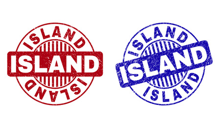 Grunge ISLAND round stamp seals isolated on a white background. Round seals with grunge texture in red and blue colors. Vector rubber imitation of ISLAND text inside circle form with stripes. Ilustração