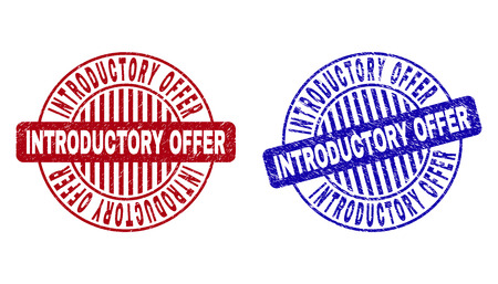 Grunge INTRODUCTORY OFFER round stamp seals isolated on a white background. Round seals with grunge texture in red and blue colors.