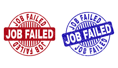 Grunge JOB FAILED round stamp seals isolated on a white background. Round seals with grunge texture in red and blue colors. Vector rubber overlay of JOB FAILED caption inside circle form with stripes.