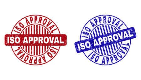 Grunge ISO APPROVAL round stamp seals isolated on a white background. Round seals with grunge texture in red and blue colors.