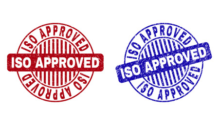 Grunge ISO APPROVED round stamp seals isolated on a white background. Round seals with grunge texture in red and blue colors.