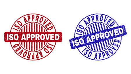 Grunge ISO GENEHMIGT runde Stempelsiegel isoliert auf weißem Hintergrund. Runde Dichtungen mit Grunge-Textur in roten und blauen Farben. Vektorgrafik