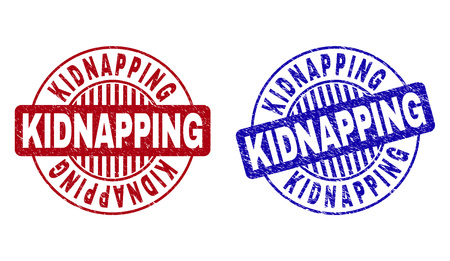 Grunge KIDNAPPING round stamp seals isolated on a white background. Round seals with distress texture in red and blue colors. Ilustracja
