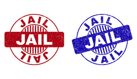 Grunge JAIL round stamp seals isolated on a white background. Round seals with grunge texture in red and blue colors. Vector rubber overlay of JAIL caption inside circle form with stripes.
