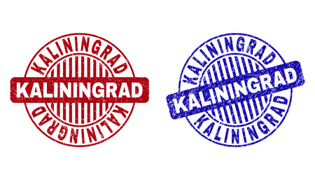 Grunge KALININGRAD round stamp seals isolated on a white background. Round seals with grunge texture in red and blue colors. Vector rubber imprint of KALININGRAD tag inside circle form with stripes. Illusztráció