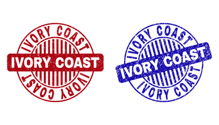 Grunge IVORY COAST round stamp seals isolated on a white background. Round seals with grunge texture in red and blue colors.