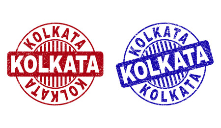Grunge KOLKATA round stamp seals isolated on a white background. Round seals with distress texture in red and blue colors. Vector rubber imprint of KOLKATA tag inside circle form with stripes.