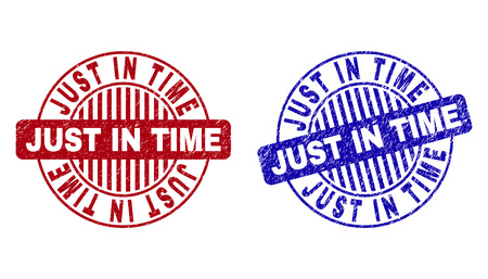 Grunge JUST IN TIME round stamp seals isolated on a white background. Round seals with grunge texture in red and blue colors.