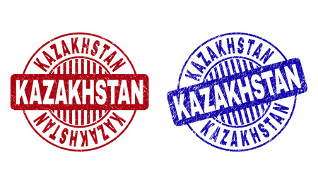 Grunge KAZAKHSTAN round stamp seals isolated on a white background. Round seals with distress texture in red and blue colors. Çizim