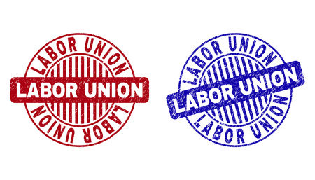 Grunge LABOR UNION round stamp seals isolated on a white background. Round seals with grunge texture in red and blue colors. Vector rubber watermark of LABOR UNION tag inside circle form with stripes.