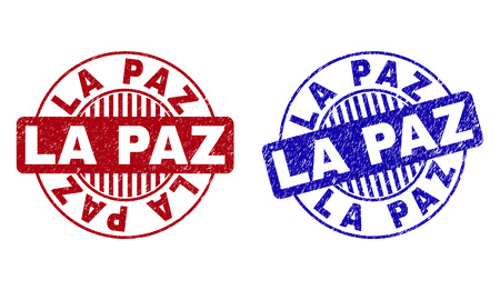 Grunge LA PAZ round stamp seals isolated on a white background. Round seals with distress texture in red and blue colors. Vector rubber overlay of LA PAZ text inside circle form with stripes. Imagens - 124024724