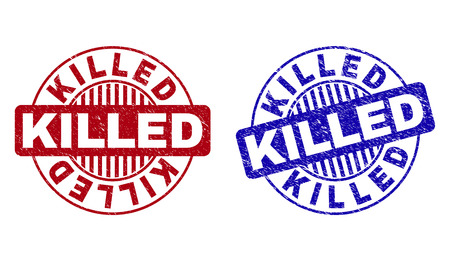 Grunge KILLED round stamp seals isolated on a white background. Round seals with grunge texture in red and blue colors. Vector rubber imitation of KILLED caption inside circle form with stripes.