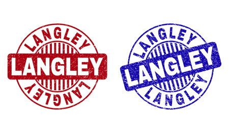 Grunge LANGLEY round stamp seals isolated on a white background. Round seals with grunge texture in red and blue colors. Vector rubber overlay of LANGLEY label inside circle form with stripes. Banco de Imagens - 124024732