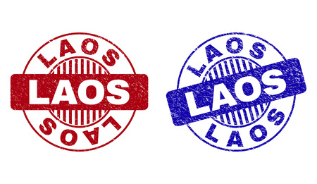 Grunge LAOS round stamp seals isolated on a white background. Round seals with grunge texture in red and blue colors. Vector rubber imitation of LAOS title inside circle form with stripes. Ilustração