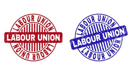 Grunge LABOR UNION Runde Stempelsiegel isoliert auf weißem Hintergrund. Runde Dichtungen mit Grunge-Textur in roten und blauen Farben. Vektorgrafik
