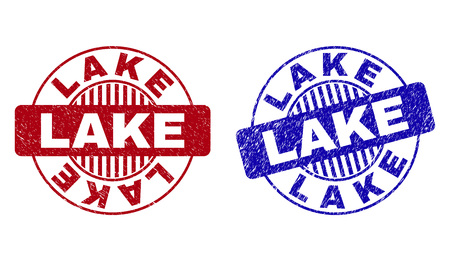 Grunge LAKE round stamp seals isolated on a white background. Round seals with grunge texture in red and blue colors. Vector rubber imprint of LAKE caption inside circle form with stripes.