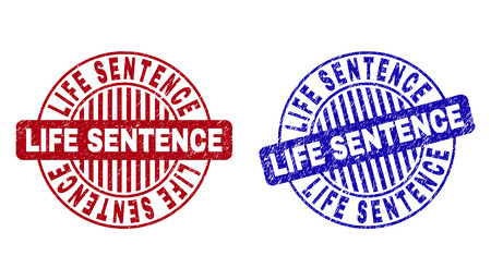 Grunge LIFE SENTENCE round stamp seals isolated on a white background. Round seals with grunge texture in red and blue colors. Vector Illustratie