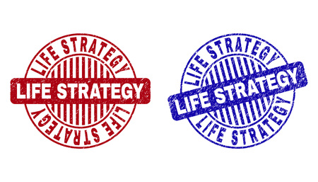 Grunge LIFE STRATEGY round stamp seals isolated on a white background. Round seals with grunge texture in red and blue colors.