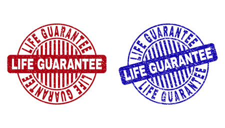Grunge LIFE GUARANTEE round stamp seals isolated on a white background. Round seals with distress texture in red and blue colors.